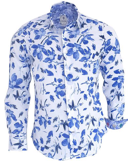 Chemise Ganesh G7000M FANTAISIE fleurs bleues