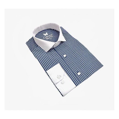 Chemise bleu rayé à col italien blanc 1924