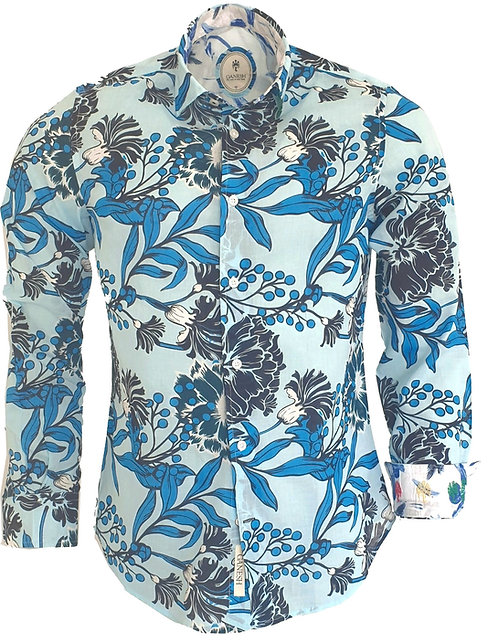 Chemise Ganesh G7000M FANTAISIE fleurs turquoises
