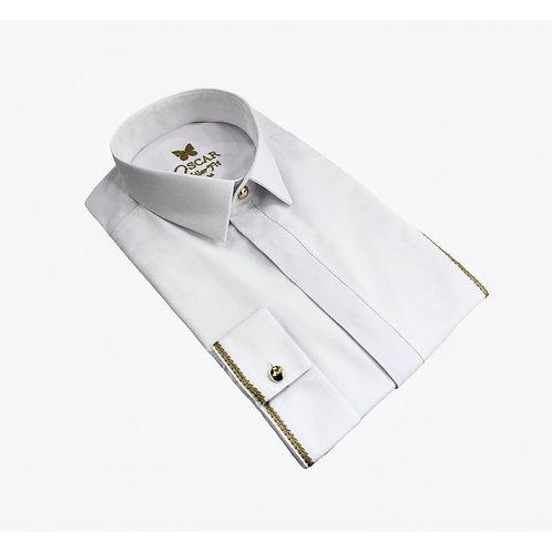 Chemise cérémonie brodée blanc & doré 2052