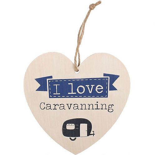 LOVE CARAVANNING HANGING HEART SIGN