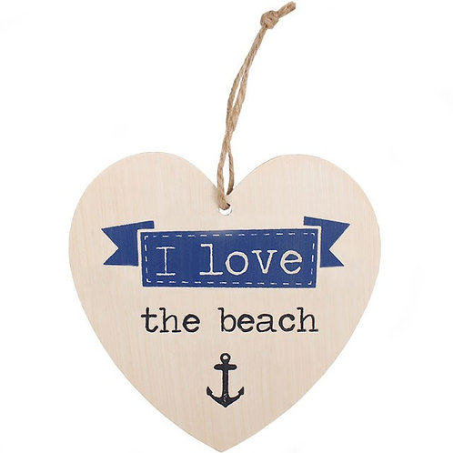 LOVE THE BEACH HANGING HEART SIGN