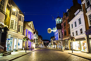 Famous English street at night Guildford High Street Surrey England  .jpg