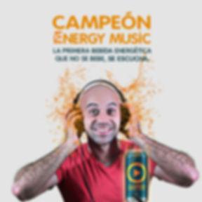 Campeón: La primera bebida energética que no se bebe, se escucha.