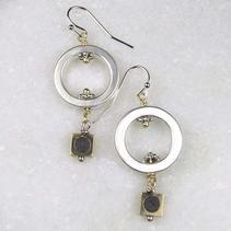 Concrete Dangle Hoop Earrings - Black $28