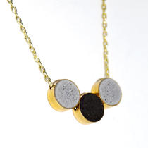 Minimalist, 3 Brass Beads with Concrete Gray and Black $30