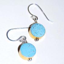 Drop Concrete Earrings-Blue $25