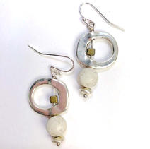 Concrete Dangle Hoop Earrings - White $28