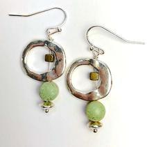Concrete Dangle Hoop Earrings - Green $28