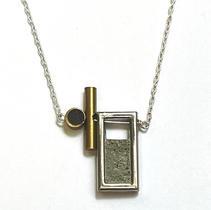 Architactual Brass, Silver and Concrete Pendant $30