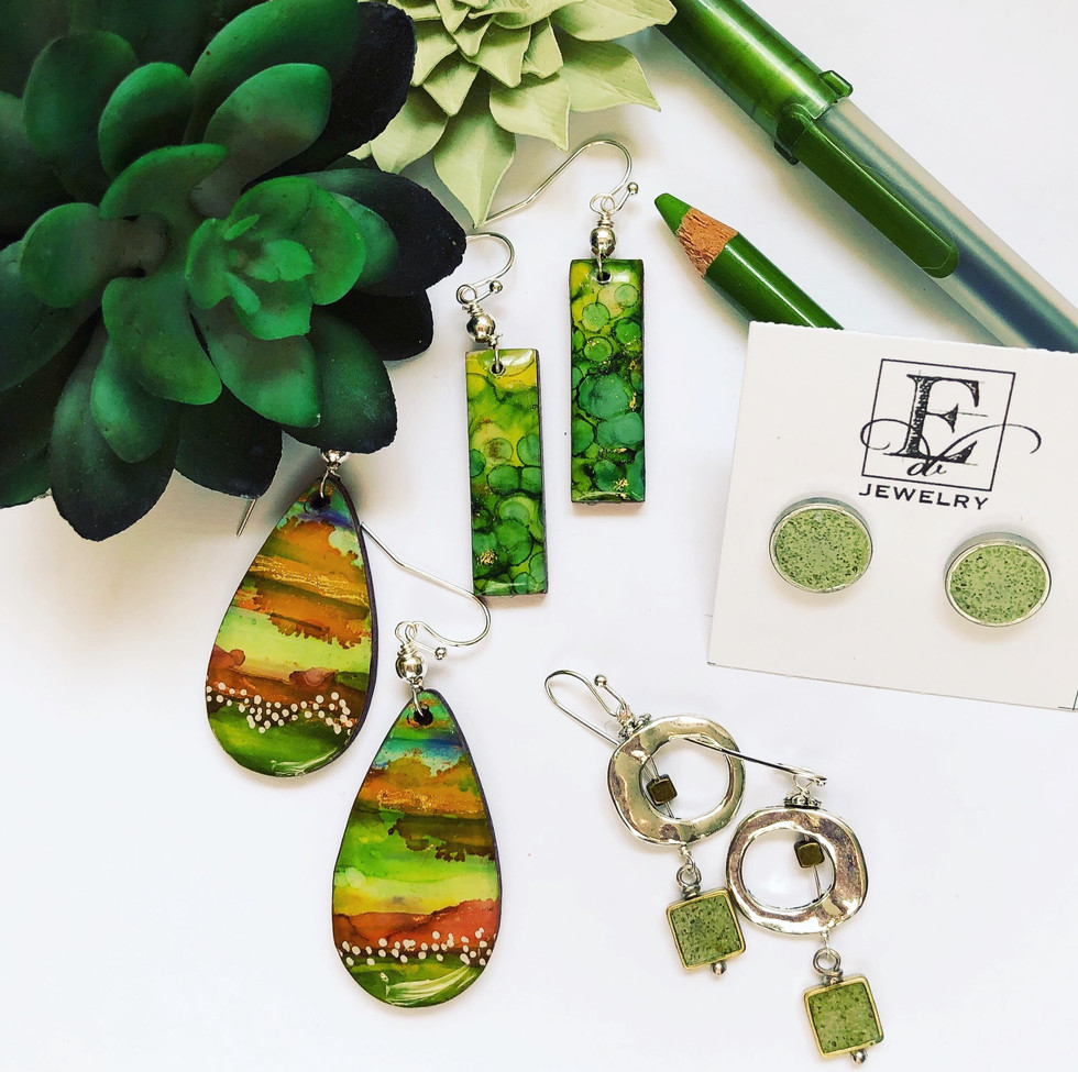 Concrete Earrings and Alcohol Inks Earrings