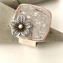 Silver Square, Modern Design with Flower Embedded in Concrete $45