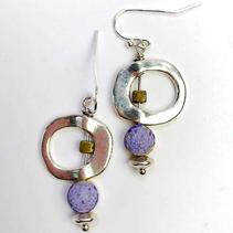 Concrete Dangle Hoop Earrings - Purple $28