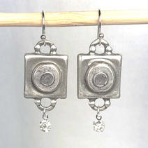 Concrete Dangle Square Earrings - Gray and White $31