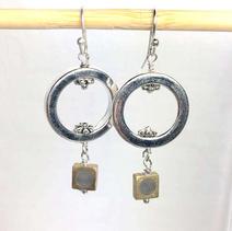 Concrete Dangle Hoop Earrings - Gray $28