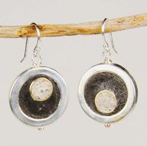 Concrete Dangle Hoop Earrings - Black and White $28