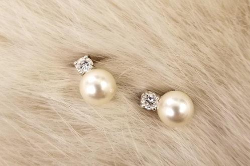 Pearl and Crystal Stud Earrings