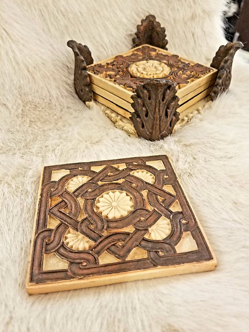 Ornate Coasters and Holder