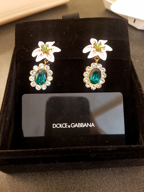 New Dolce and Gabbana Lily Crystal Clip Ons