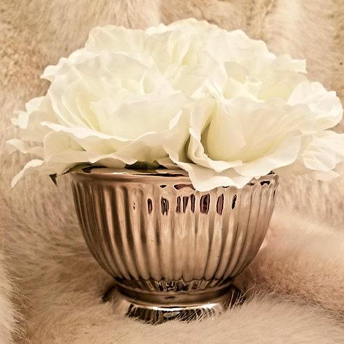 White Rose Display Pot