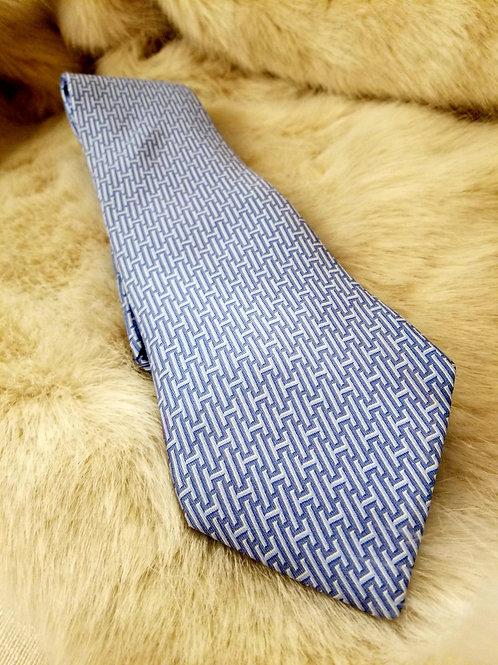 Hermes Blue H Design Tie