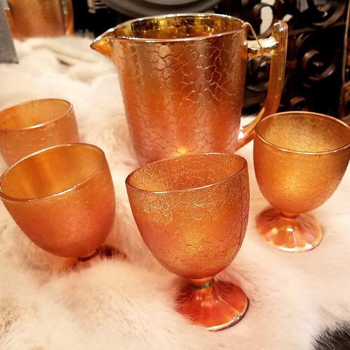 Carnival Glass Pitcher Set - Marigold