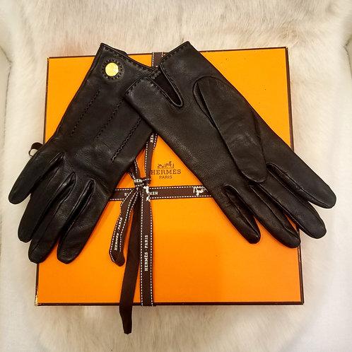 Vintage Hermes Leather Gloves, Box Included!