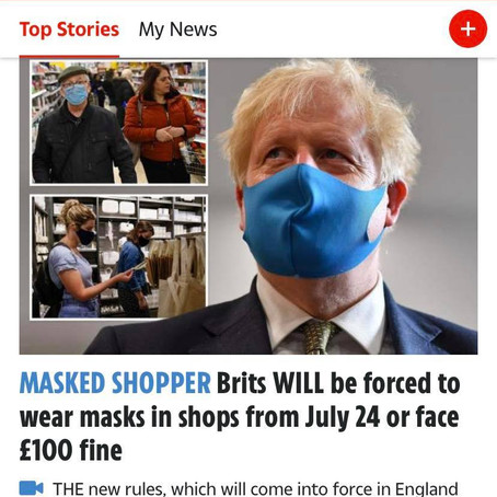 英國政府終於宣佈要強制性戴口罩