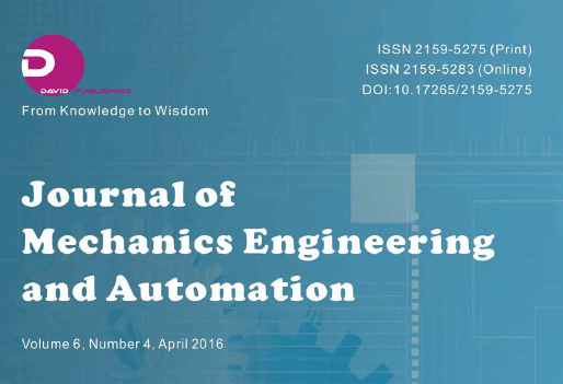 The Journal of Mechanics Engineering and Automation (JMEA) publishes Andrea Forni's Research Pap