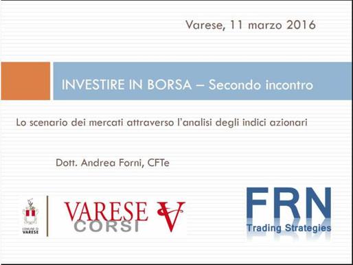 """VareseCorsi: nuova edizione del corso comunale """"Investire in Borsa""""!"""
