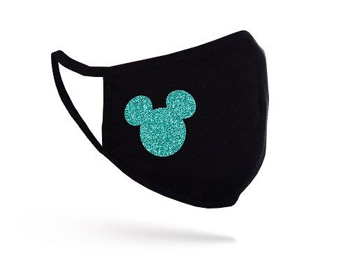 Acoperitoare facială Glitter Mickey neagră