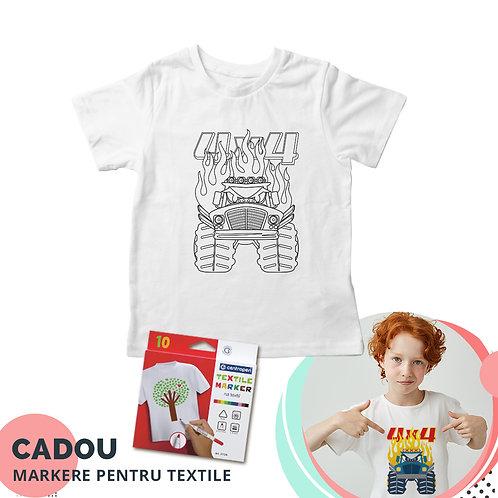 """Tricou de colorat """"Monster Truck"""", cu markere pentru textile cadou"""