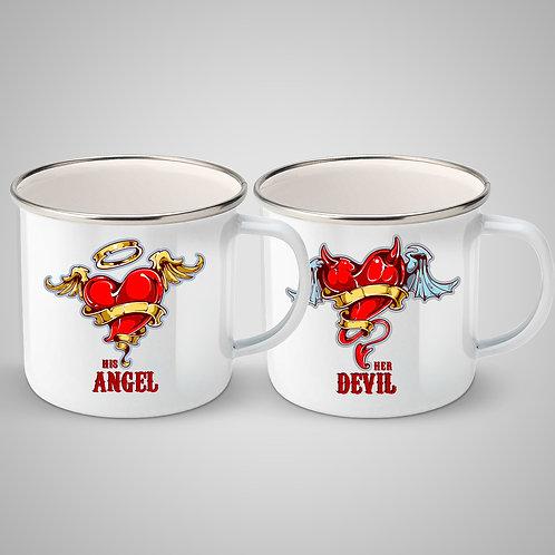 """SET Căni metalice emailate """"His Angel  - Her Devil"""""""