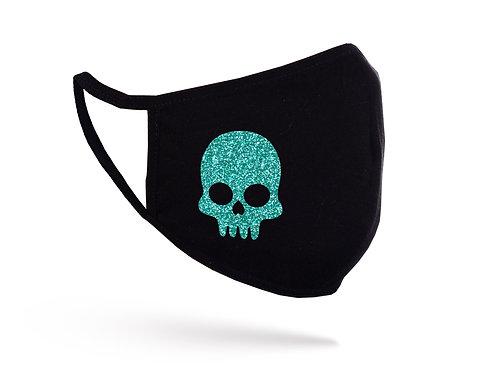 Acoperitoare facială Glitter Skull neagră
