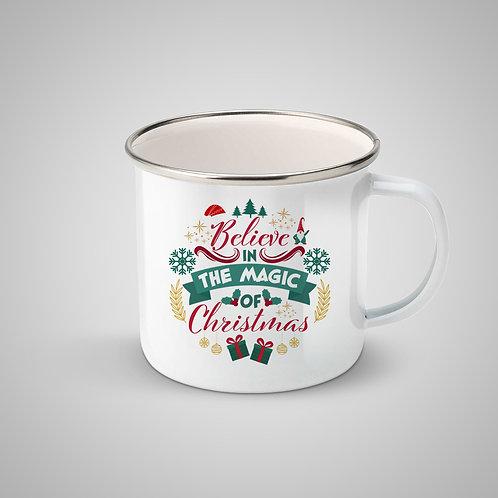 """Cană metalică emailată """"Believe in the Magic of Christmas"""""""