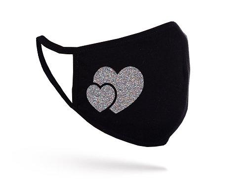 Acoperitoare facială Glitter Heart neagră