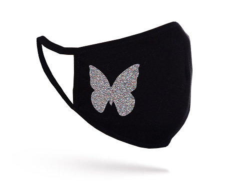 Acoperitoare facială Glitter Butterfly neagră
