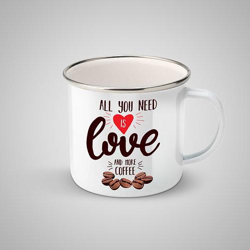 """Cană metalică emailată """"All You Need is Love & Coffee"""""""
