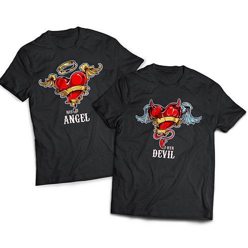 """Tricou Cuplu """"His Angel - Her Devil"""""""