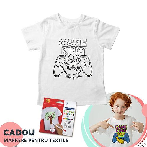 """Tricou de colorat """"GameKing"""", cu markere pentru textile cadou"""