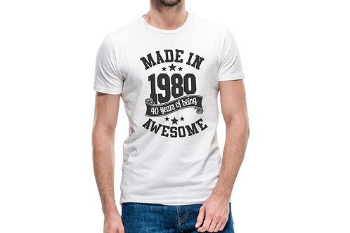 """Tricou """"Made in ..."""" personalizabil cu ziua Ta de naștere"""