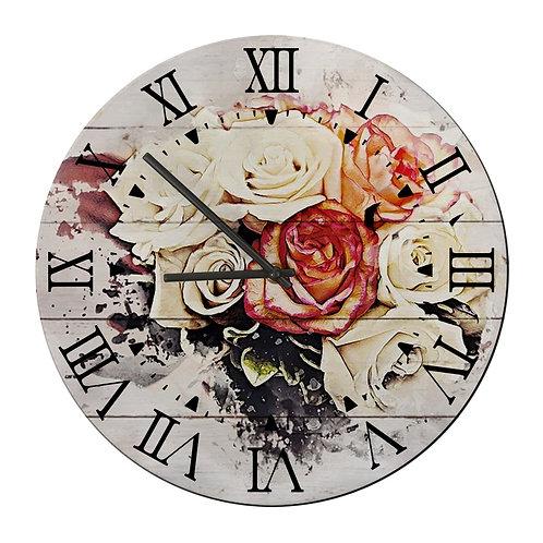 """Ceas de perete rotund """"Vintage Flower"""""""
