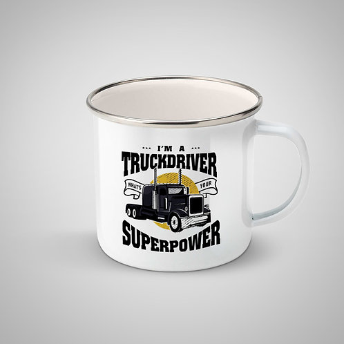 """Cană metalică emailată """"Truckdriver Superpower"""""""