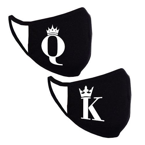 Mască Queen-King El/Ea 2 buc (neagră)