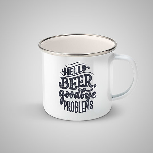"Cană metalică emailată ""Hello beer, goodbye problems"""