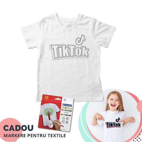 """Tricou de colorat """"TikTok"""", cu markere pentru textile cadou"""