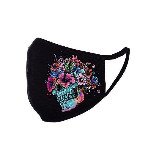 Acoperitoare facială Floral Skull neagră