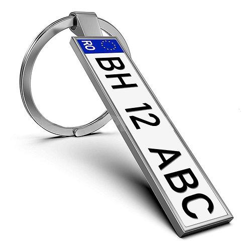 Breloc personalizat cu număr înmatriculare auto și mesaj