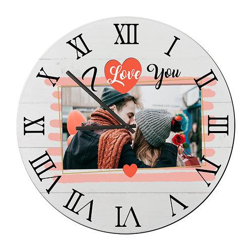 "Ceas de perete rotund ""I Love You"" cu Poză"