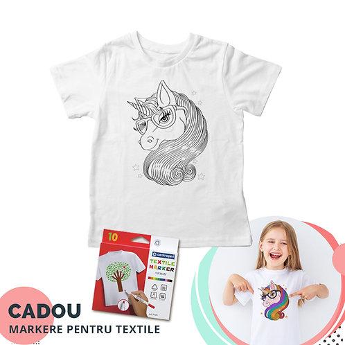 """Tricou de colorat """"Unicorn"""", cu markere pentru textile cadou"""